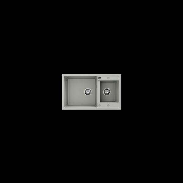 Chiuveta cu doua cuve gri deschis 80 cm/49 cm (233)