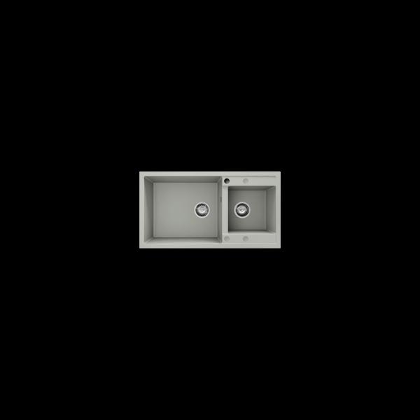 Chiuveta cu doua cuve gri metalic 90 cm/49 cm (234)