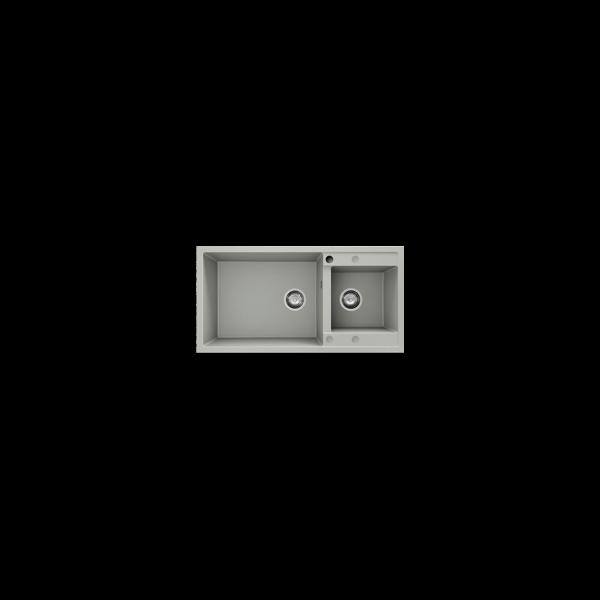 Chiuveta cu doua cuve gri metalic 95 cm/49 cm (235)
