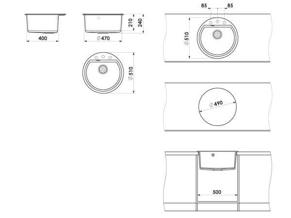 Chiuveta rotunda gri Ø 51 cm (223)