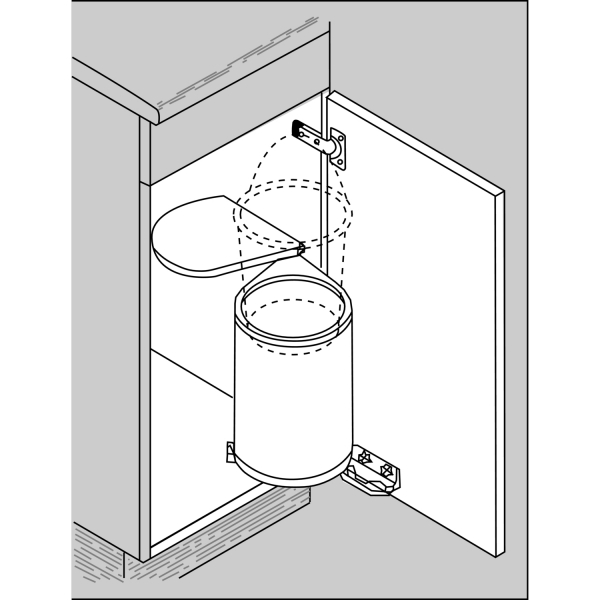 Cos de gunoi incorporabil, calitate germana, din otel lacuit argintiu, vol. 13 l