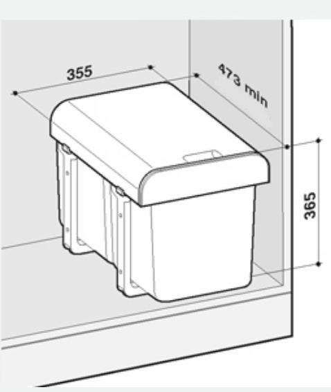 Cos de gunoi incorporabil Ekko  cu 1 compartiment x 34 litri