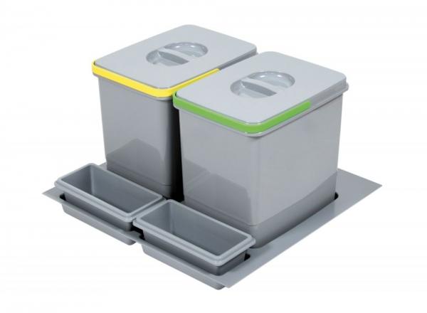 Cos de gunoi incorporabil in sertar, cu 2 recipiente, pentru corp de 600 mm latime