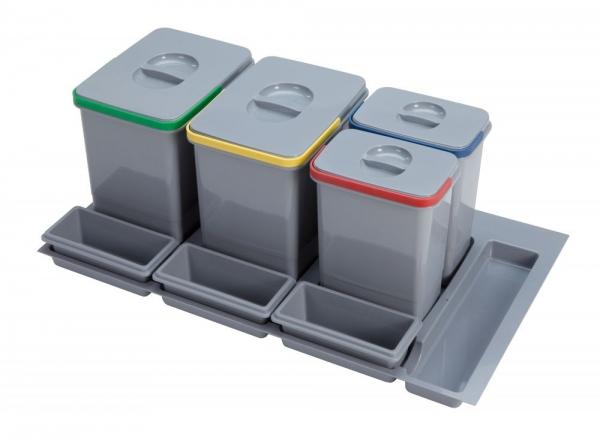 Cos de gunoi Praktico incorporabil in sertar, cu 4 recipiente, pentru corp de 900 mm latime 0