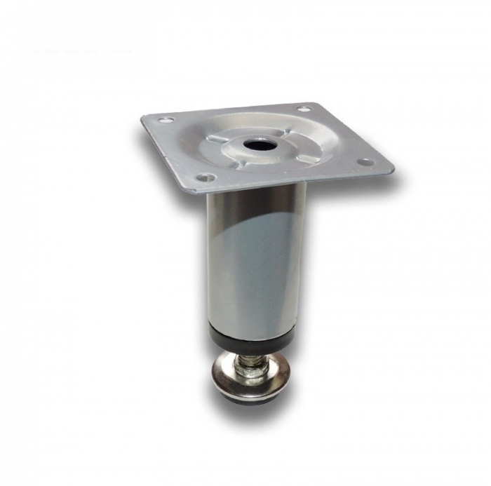Picior metalic pentru mobilier H:80 mm, Ø30 mm aluminiu
