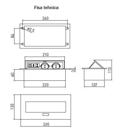 Priza incorporabila 2+1 ( 2 prize Schuko + 1 USB + 1 LAN + 2 RCA)