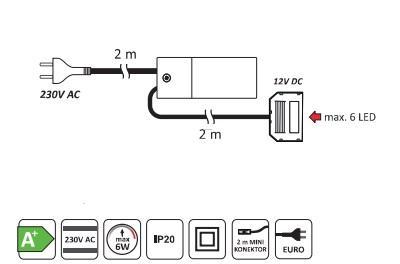 Set 3 spoturi patrat ( 25 diode)